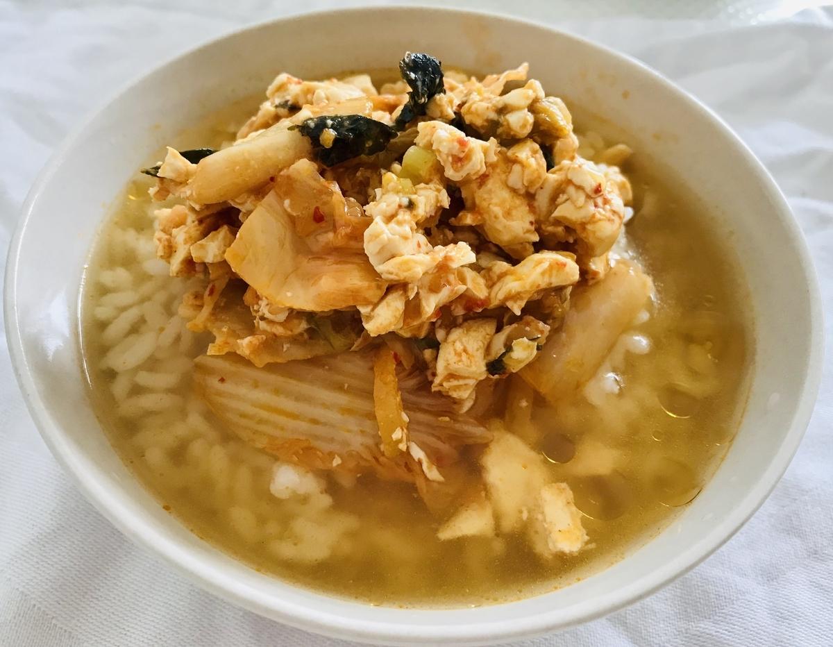 豆腐キムチの韓国風お茶漬け