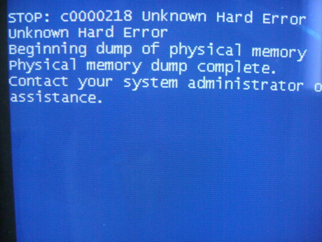 STOP: c0000218 Unknown Hard Error