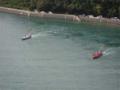 豊島大橋(アビ大橋)より 櫂伝馬の競漕 を撮影
