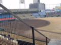 [広島市民球場]内野2階席直下の柱奥にある座席からグランドを見る