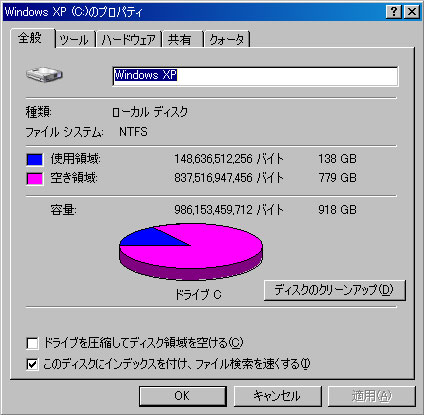 HDT721010SLA360 ドライブ移行、直後のスナップショット