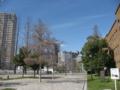 [東千田公園]左側:集合住宅 右側:旧広島大学理学部1号館