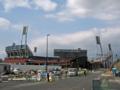 [新広島市民球場]広島貨物ターミナル駅出入り口横から新球場を望む