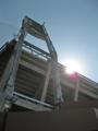 [新広島市民球場]ビジターパフォーマンスシート照明灯を見上げる