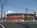 """[新広島市民球場]""""大州通り""""「球場前(西)」交差点から新広島市民球場を望む"""