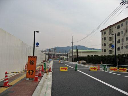 東側、新設市道建設現場 南から広島貨物ターミナル駅方面を望む