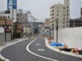 [新広島市民球場]球場東側のまだ封鎖されている市道北端から「球場前(東)」交差点方面