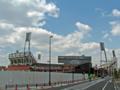 [新広島市民球場]広島貨物ターミナル駅トラック出入口横から新球場を望む