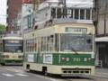 [広島電鉄3800形電車][広島電鉄700形電車]3801編成(左奥)と701号車(右)