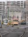 [広島電鉄5100形電車][広島電鉄2000形電車][広島電鉄650形電車]5102編成(左)2005編成(中)652号車(右)