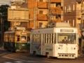 [広島電鉄350形電車][広島電鉄700形電車]351号車(左)702号車(右)