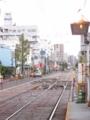 [広島電鉄]宇品二丁目 電停から渡り線を望む