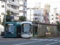 [広島電鉄5000形電車][広島電鉄5100形電車]5012編成(左)5108編成(右)