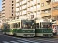 [広島電鉄800形電車][広島電鉄700形電車]810号車(左)707号車(右)