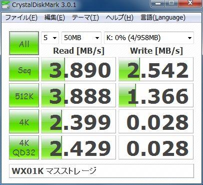 Kyocera WX01K+ Transcend microSDカード TS1GUSD