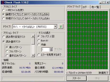 Check Flash 1.16.2 読み書きテスト最小パターン GH-UFD32GN
