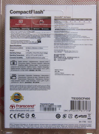 TS32GCF400 CompactFlash 32GB パッケージ裏