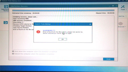 EaseUS Todo Backup Error Message