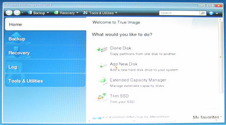 Acronis True Image HD 2013(English)の画面表示