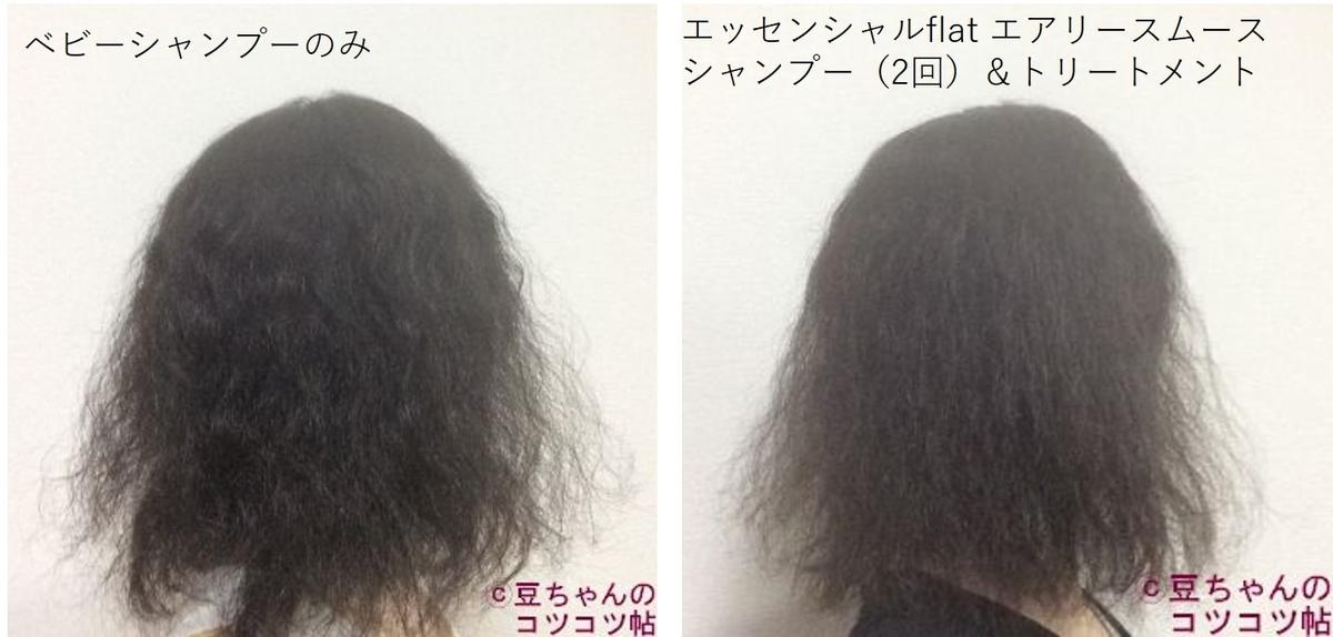 異なるシャンプーを使用した髪の比較画像