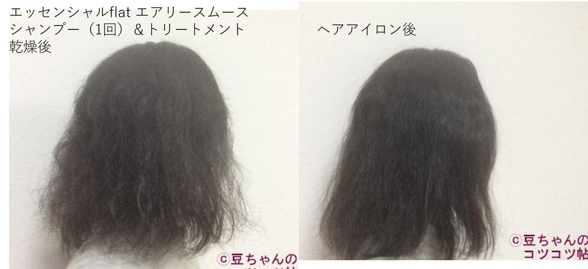 ヘアアイロンをかける前と後の比較画像