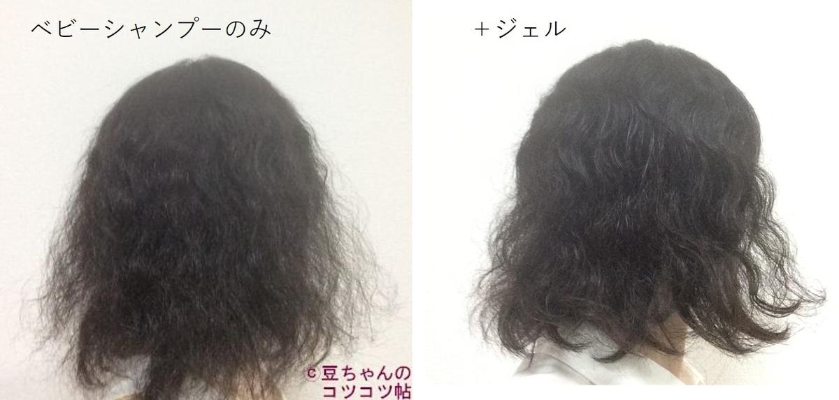 洗髪後の髪の画像と、ヘアジェルを塗布した髪の画像