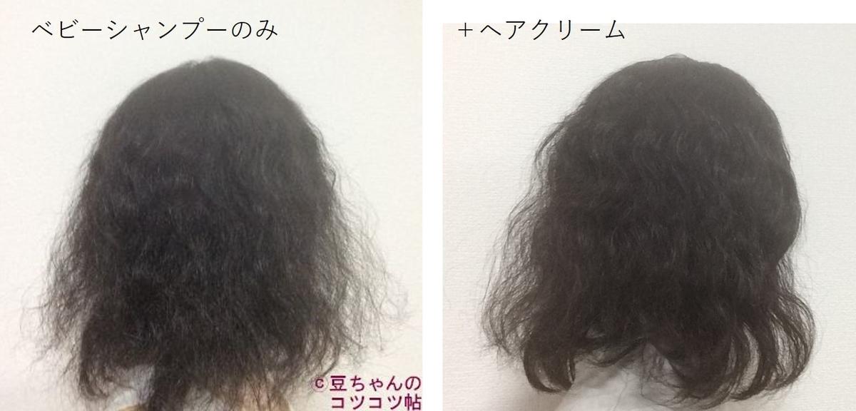 洗髪後の髪とヘアクリームをつけた髪が並んでいる画像