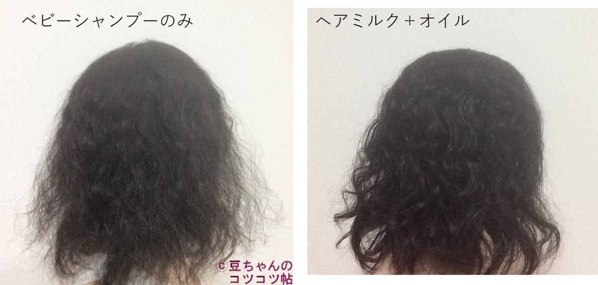 洗髪後の髪とヘアミルク+オイルを塗布した髪の画像