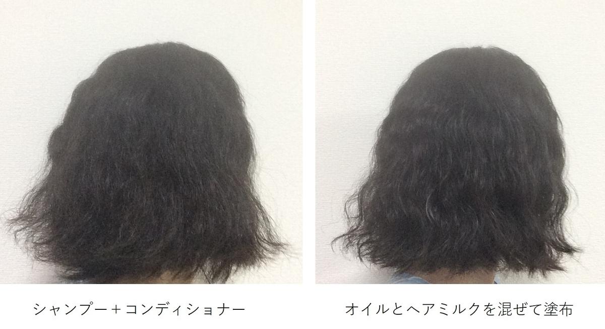 洗髪後とヘアミルク&オイル塗布後の髪の画像