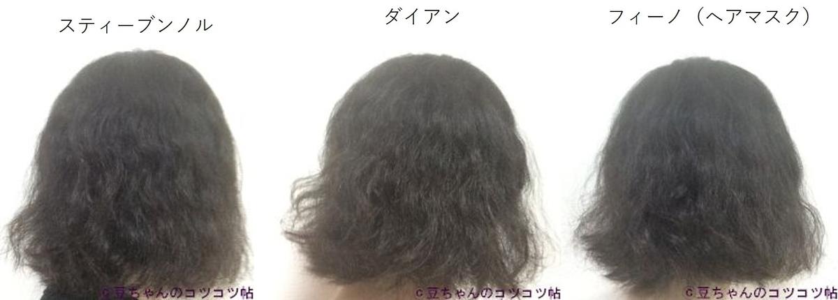 スティーブンノル、ダイアン、フィーノを試した髪の比較画像
