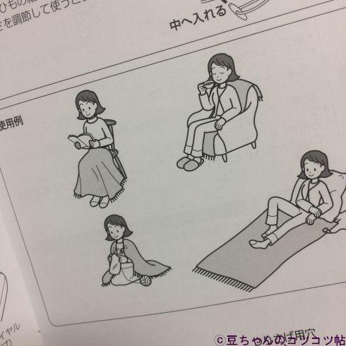 電気ひざ掛けの使用例のイラスト