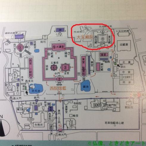法隆寺の境内マップの一部