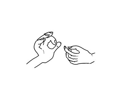 親指と、小指以外の指で輪にする形の説法印イメージ