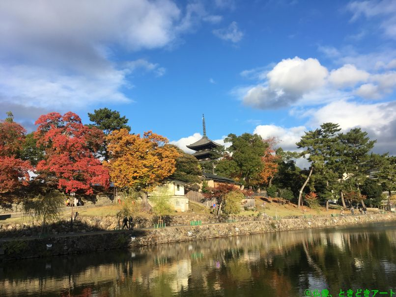 猿沢池越しに興福寺の五重塔を撮影した画像