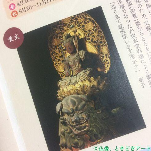 般若寺パンフレットの八字文殊菩薩騎獅像の部分を撮影した画像