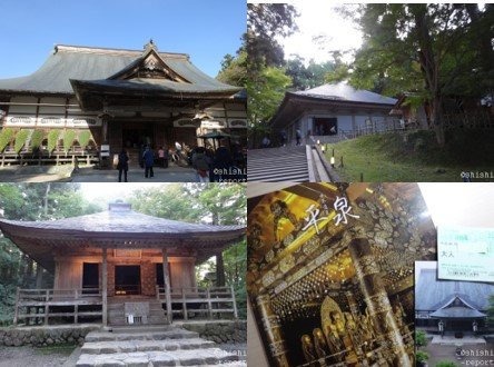 中尊寺の本堂、金色堂、経蔵、パンフレットの写真を合わせた画像