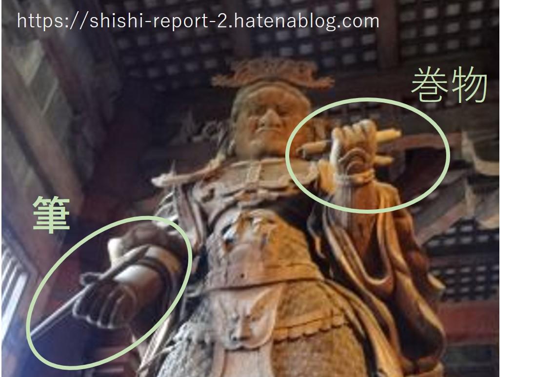 仏像の持つ筆と巻物を丸で囲んだ画像