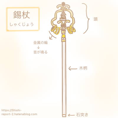 仏教法具の錫杖のイラスト