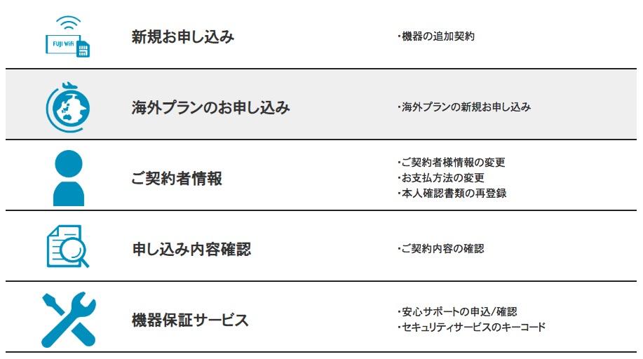 FUJI Wifiの新規申し込み画面