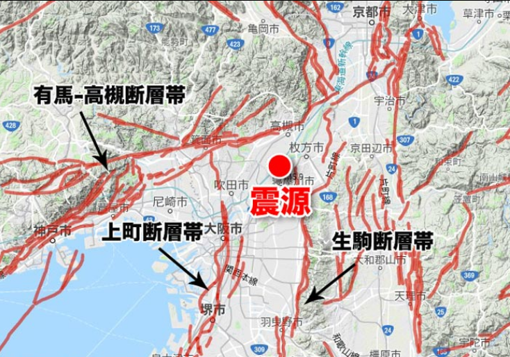 大阪北部地震の震源地付近には複...