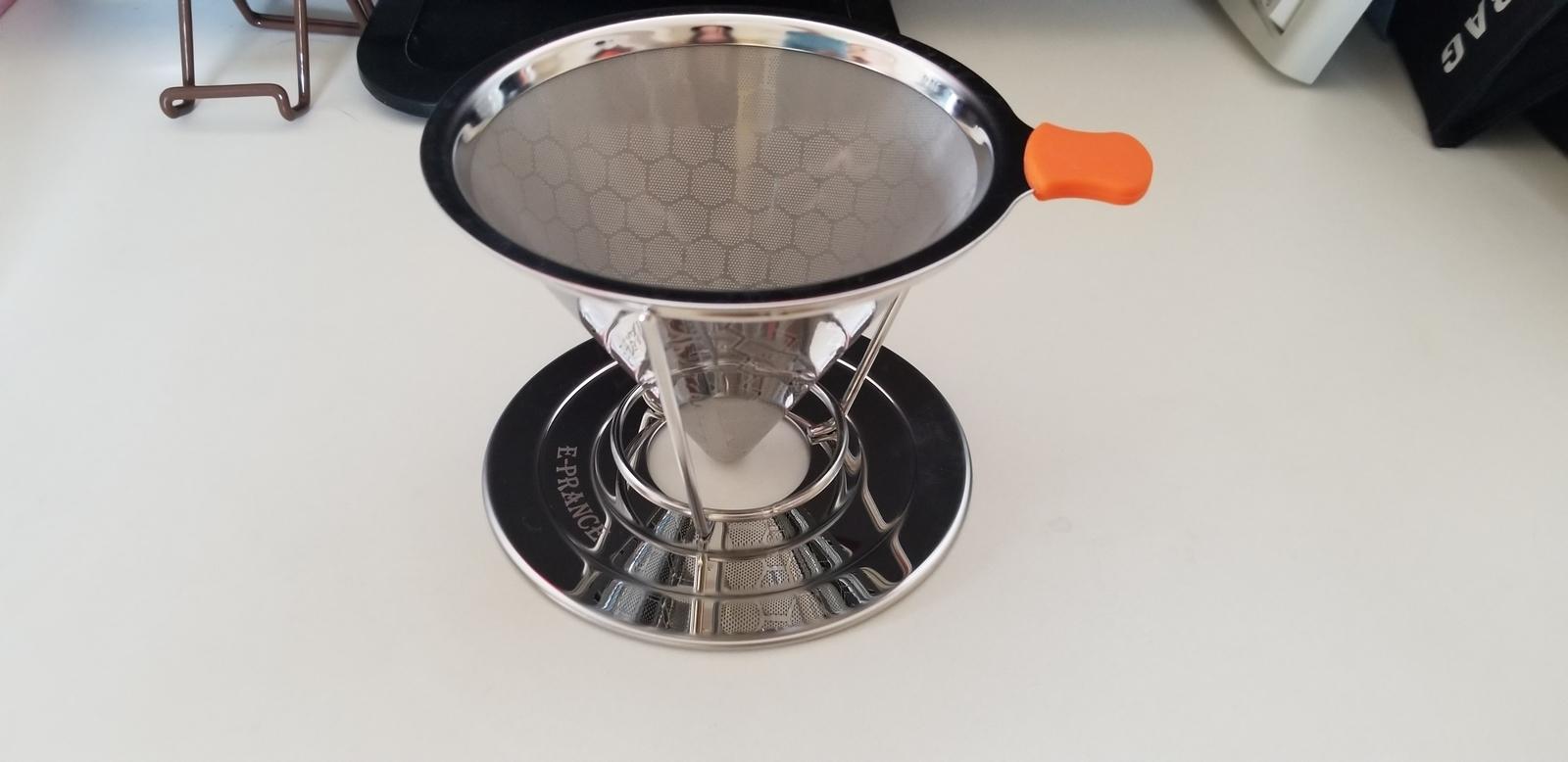 E-PRANCE コーヒードリッパー ステンレスフィルター 蜂窩状 2層メッシュ ペーパーフィルター不要 1~4杯用 (シルバー)