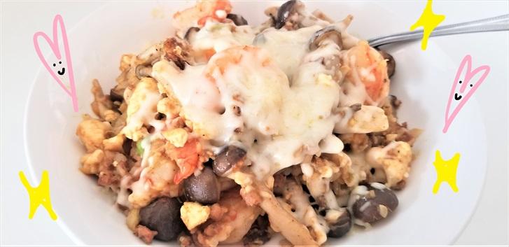 【糖質制限ダイエット】【お米の代わりと大豆ミート】エビとしめじのカレー風味のチーズリゾット #004レシピ