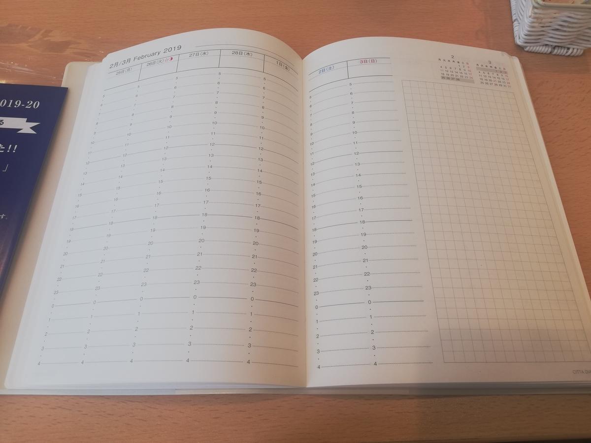 CITTA手帳 バーチカル 24時間軸 3月始まり 4月始まり 時間軸 時間管理 スケジュール