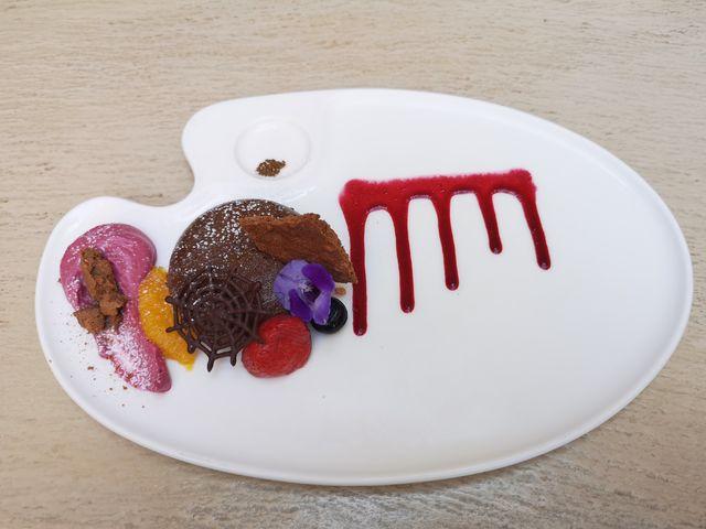 チョコレートプディング&カシスエスプーマ