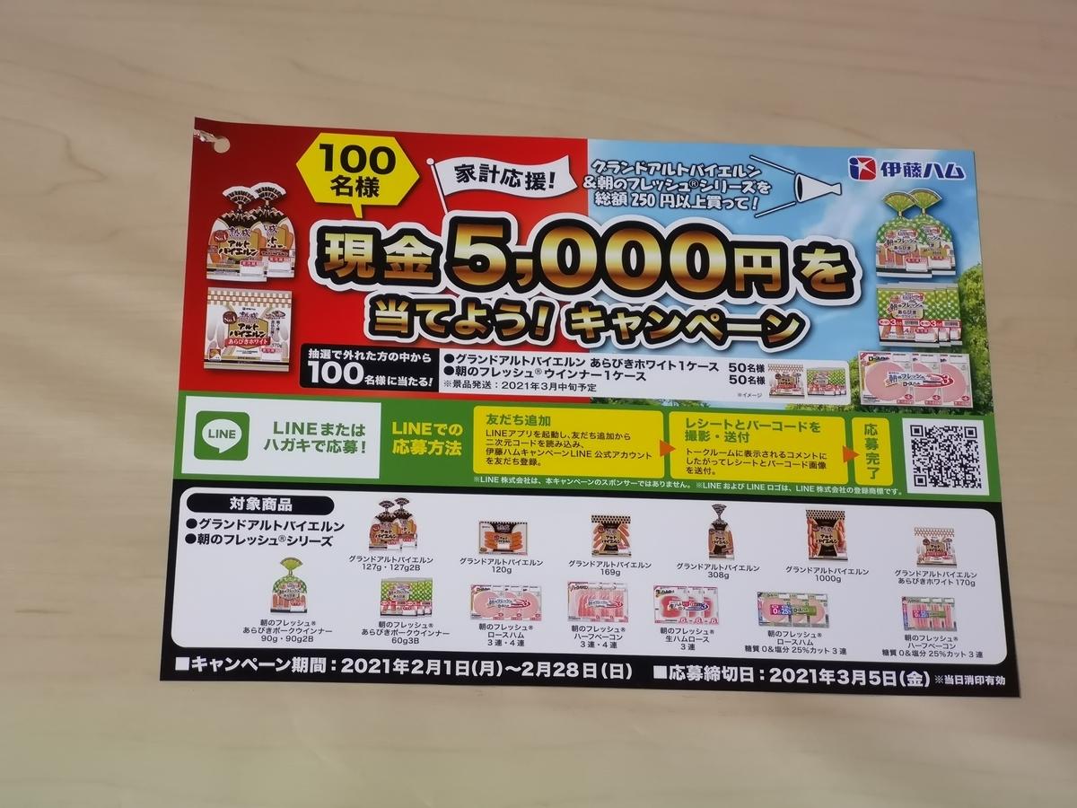 伊藤ハム 家計応援!現金5,000円を当てよう!キャンペーン