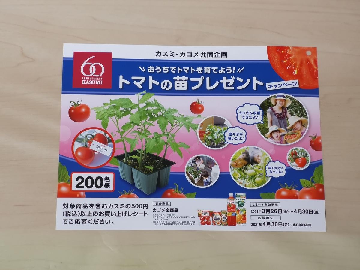 カスミ×カゴメ おうちでトマトを育てよう!トマトの苗プレゼントキャンペーン