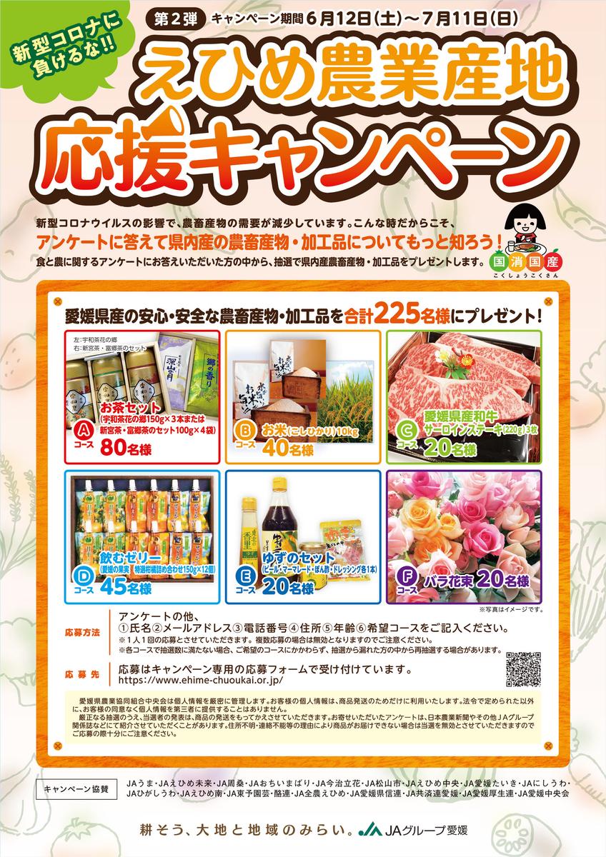 JA愛媛中央会 新型コロナに負けるな!えひめ農業産地応援キャンペーン 第2弾