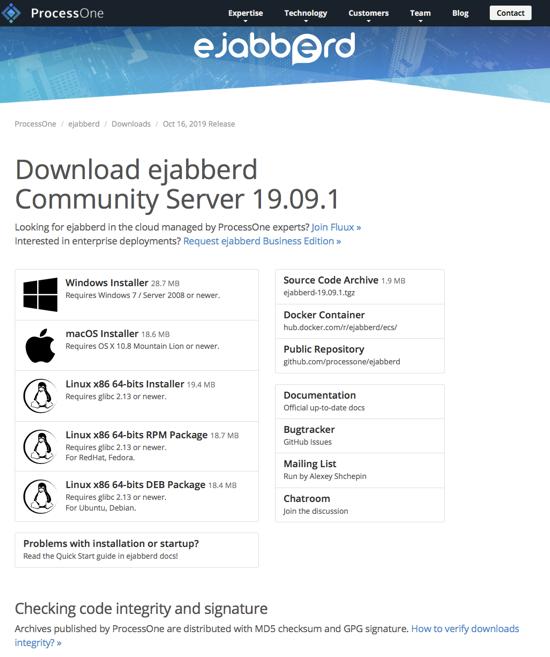 Download ejabberd Community Server 19.09.1