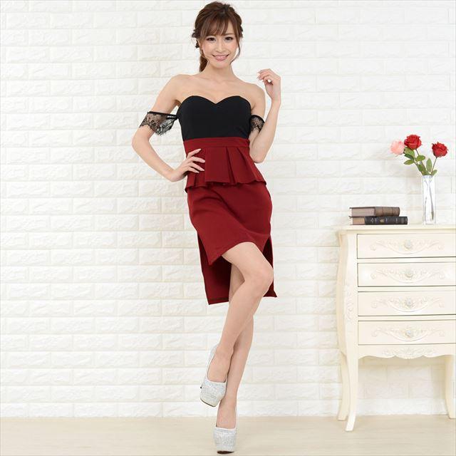 オフショルフリルミニドレス キャバドレス お呼ばれ パーティー セクシー ファッション