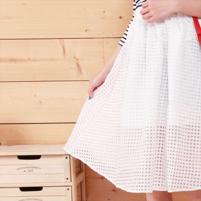 チェック柄フレアスカート カジュアル フェミニン 膝丈 ファッション